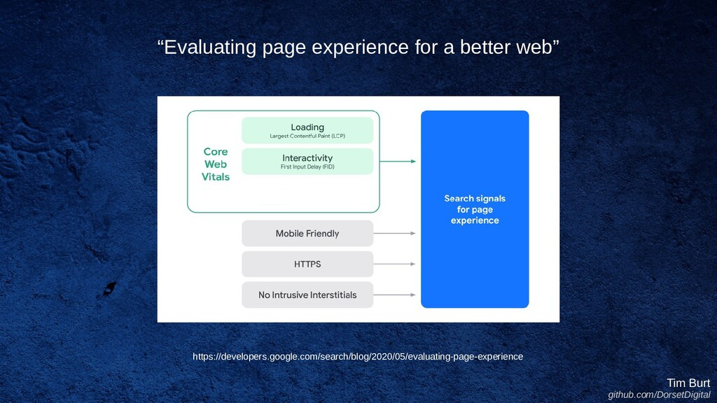 """""""Evaluating page experience for a better web"""" T..."""