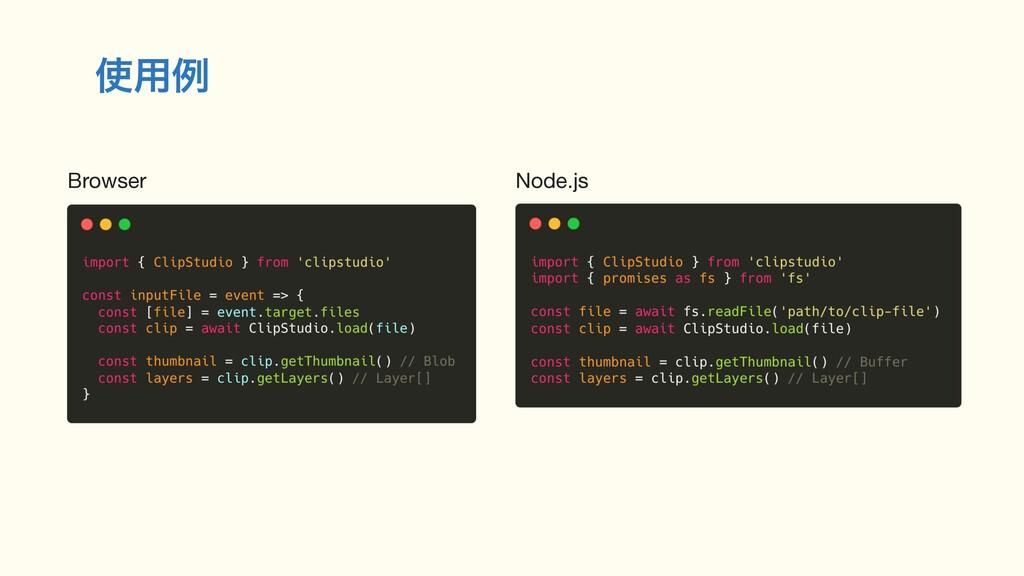 ༻ྫ Browser Node.js