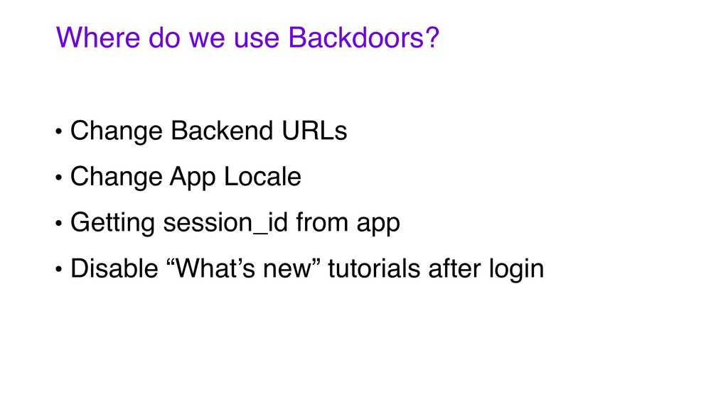 • Change Backend URLs • Change App Locale • Get...
