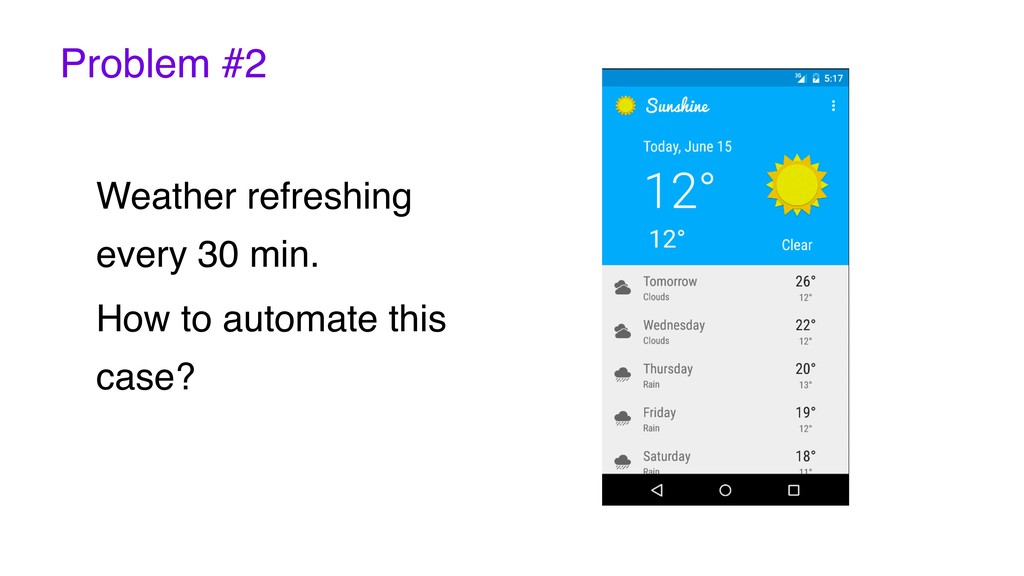 Problem #2 Weather refreshing every 30 min. How...