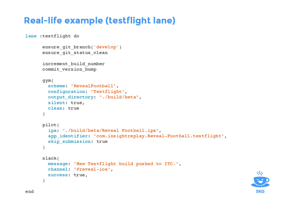 lane :testflight do ensure_git_branch('develop'...