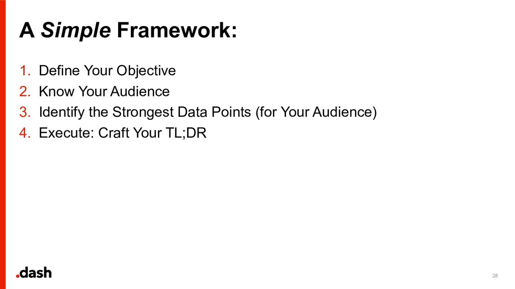 A Simple Framework: 28 1. Define Your Objective...