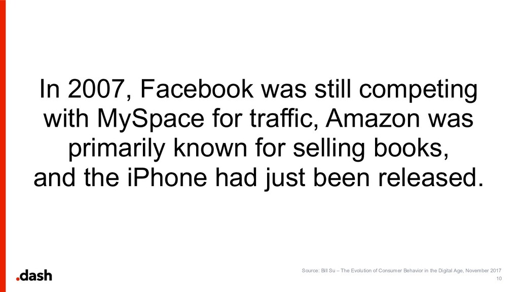 In 2007, Facebook was still competing with MySp...