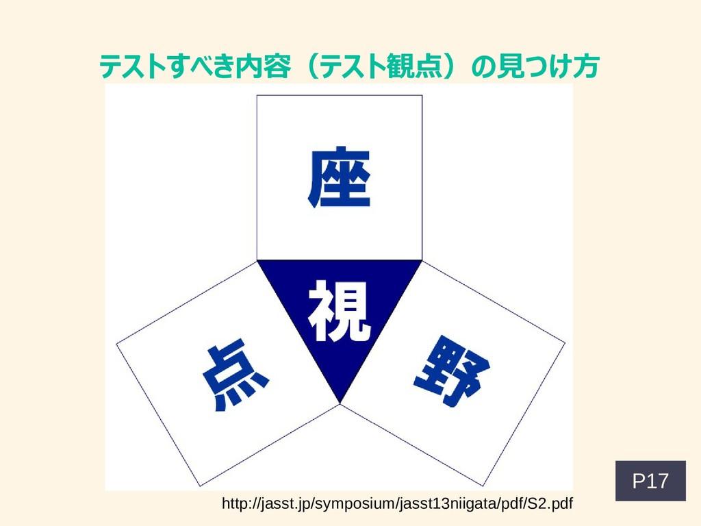テストすべき内容(テスト観点)の見つけ方 http://jasst.jp/symposium/...