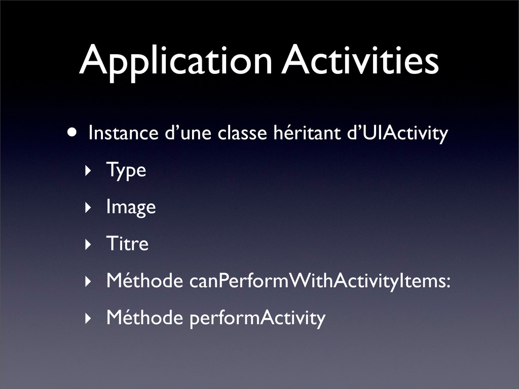 Application Activities • Instance d'une classe ...