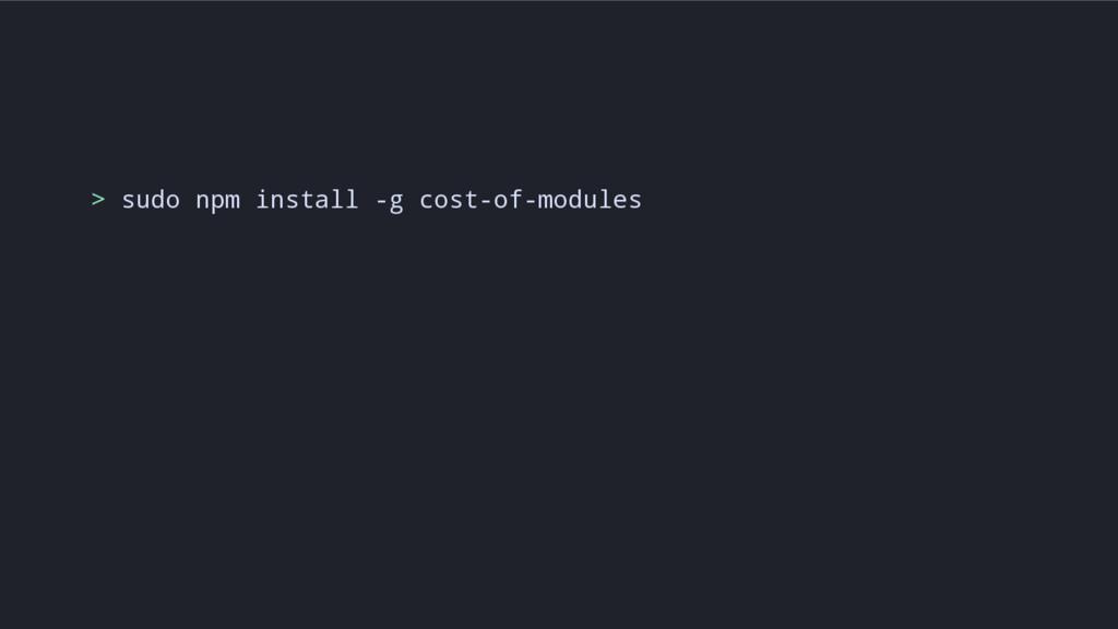 > sudo npm install -g cost-of-modules