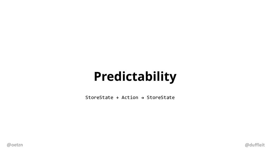 Predictability StoreState + Action ! StoreState...