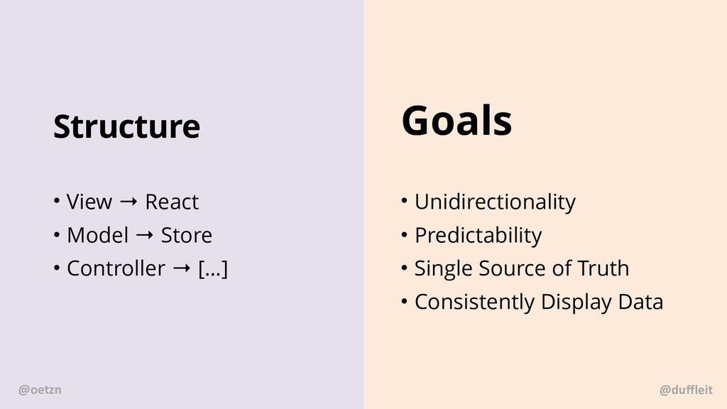 Structure • View → React • Model → Store • Cont...