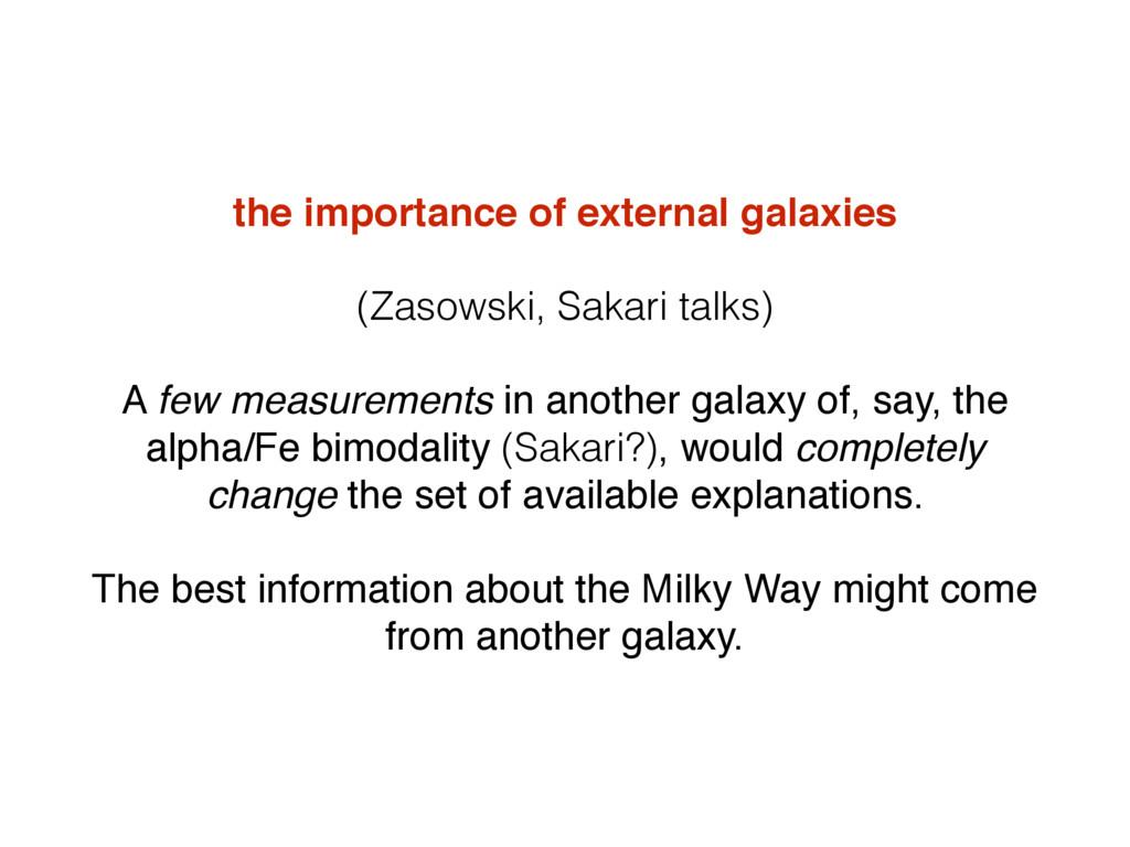 the importance of external galaxies (Zasowski, ...