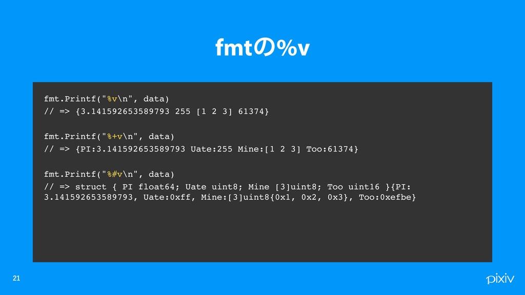 """fmt.Printf(""""%v\n"""", data) // => {3.14159265..."""