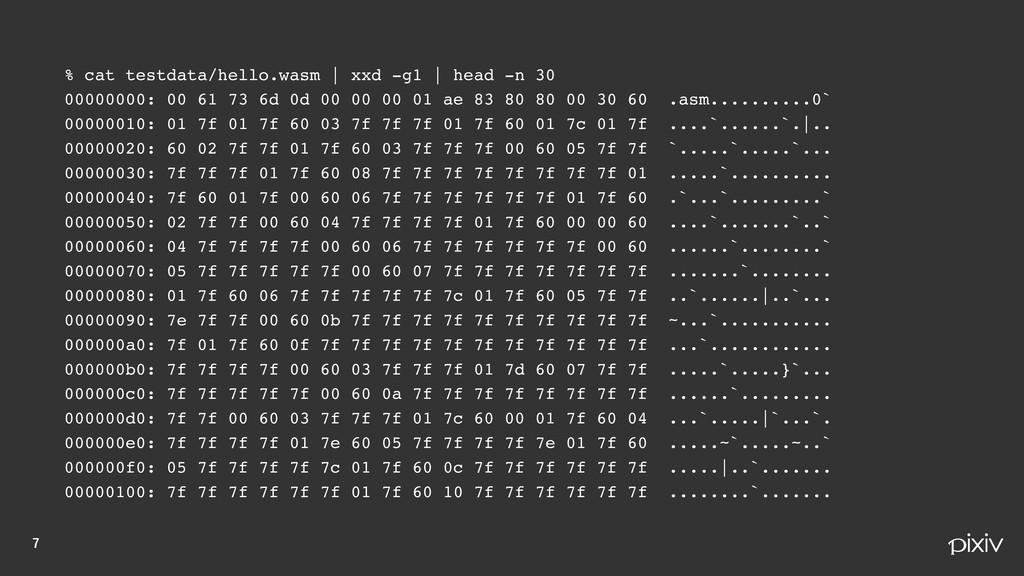 % cat testdata/hello.wasm | xxd -g1 | head ...