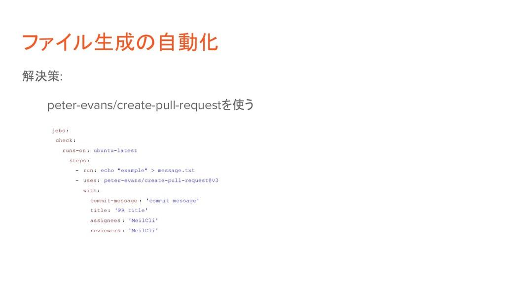 ファイル生成の自動化 解決策: peter-evans/create-pull-request...