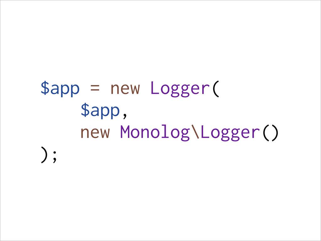$app = new Logger( $app, new Monolog\Logger() );