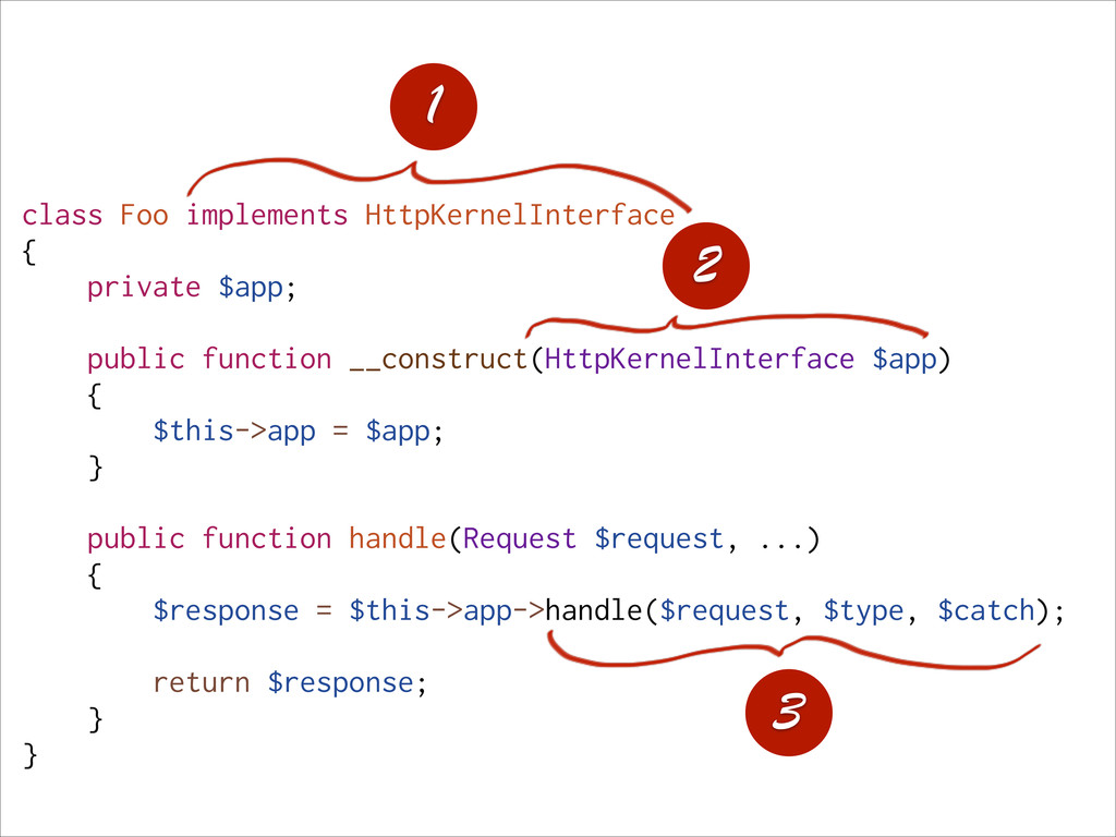 class Foo implements HttpKernelInterface { priv...