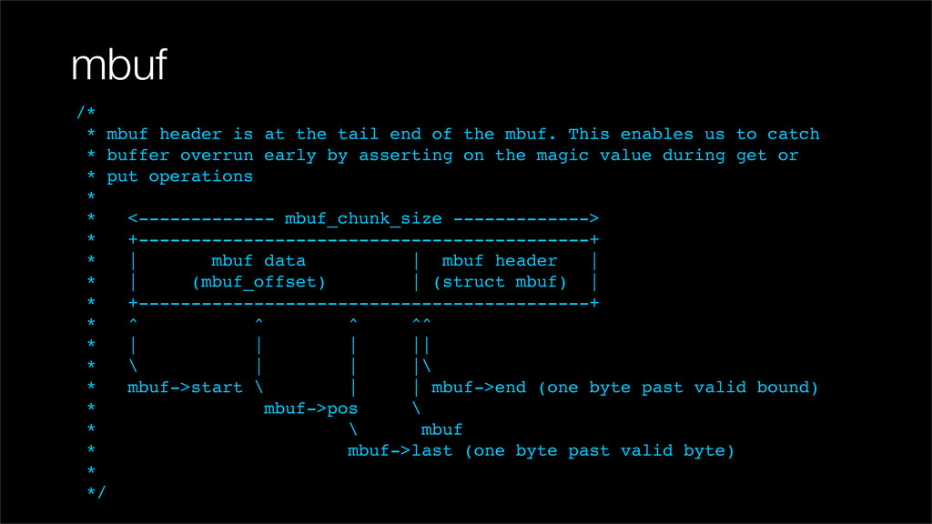 mbuf /* * mbuf header is at the tail end of the...