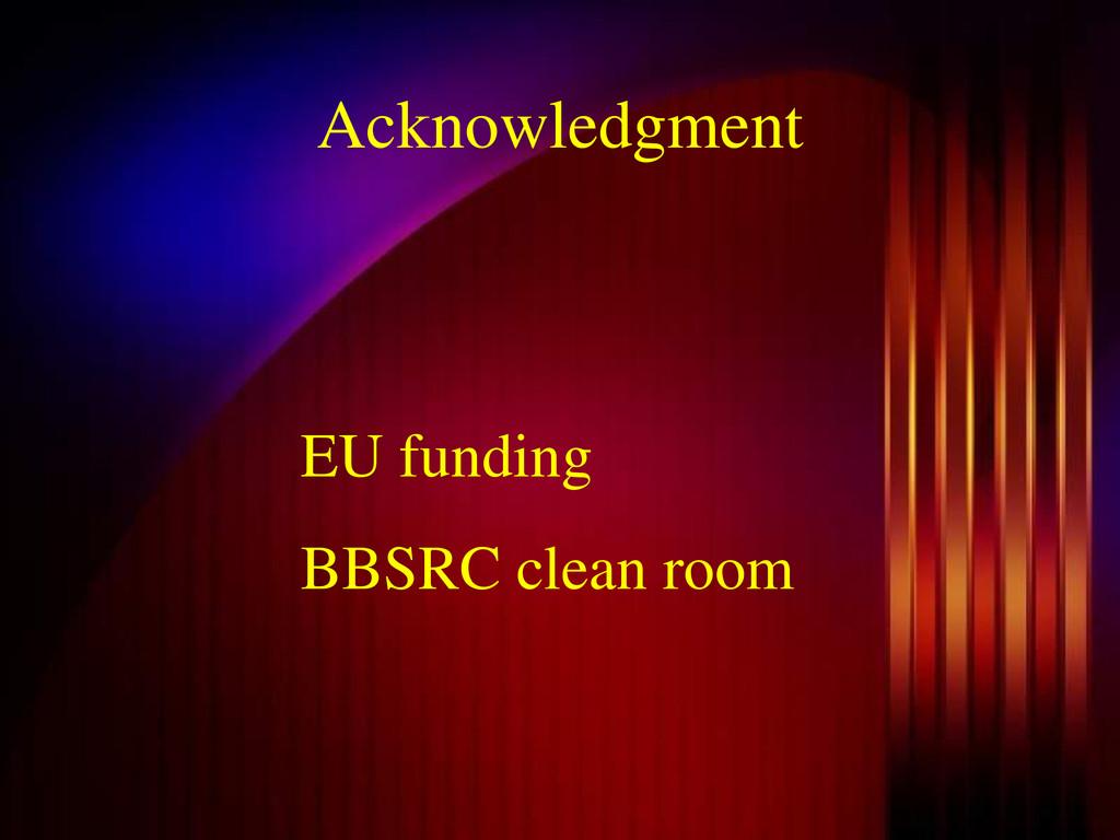 Acknowledgment EU funding BBSRC clean room