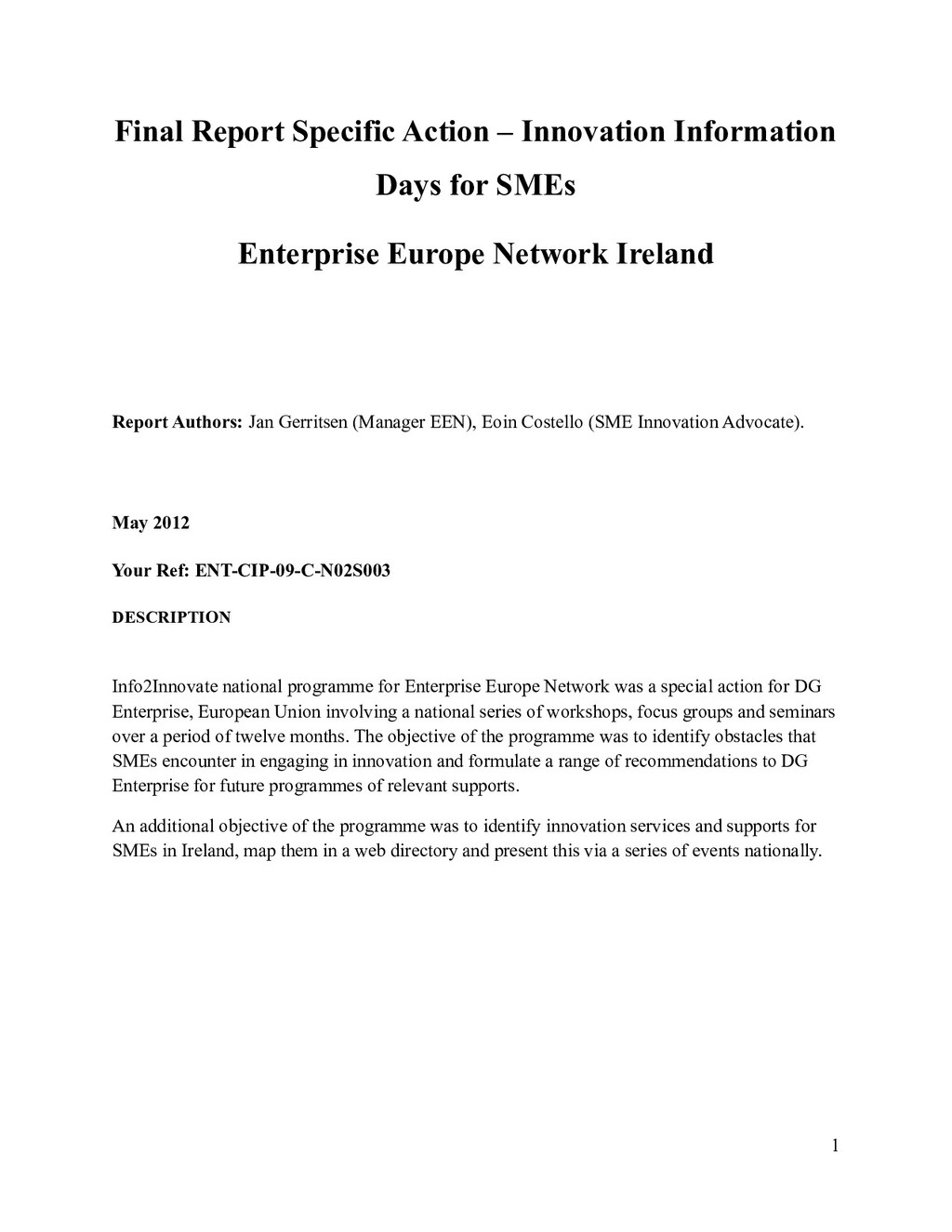 Final Report Specific Action – Innovation Infor...