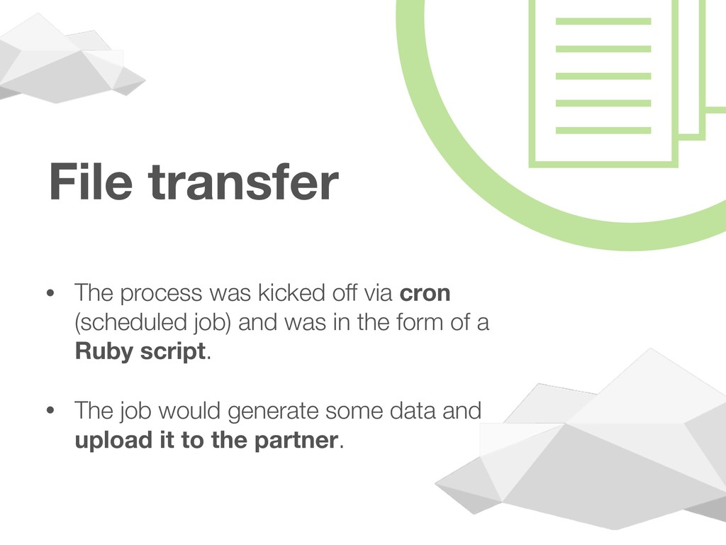 File transfer • The process was kicked off via ...