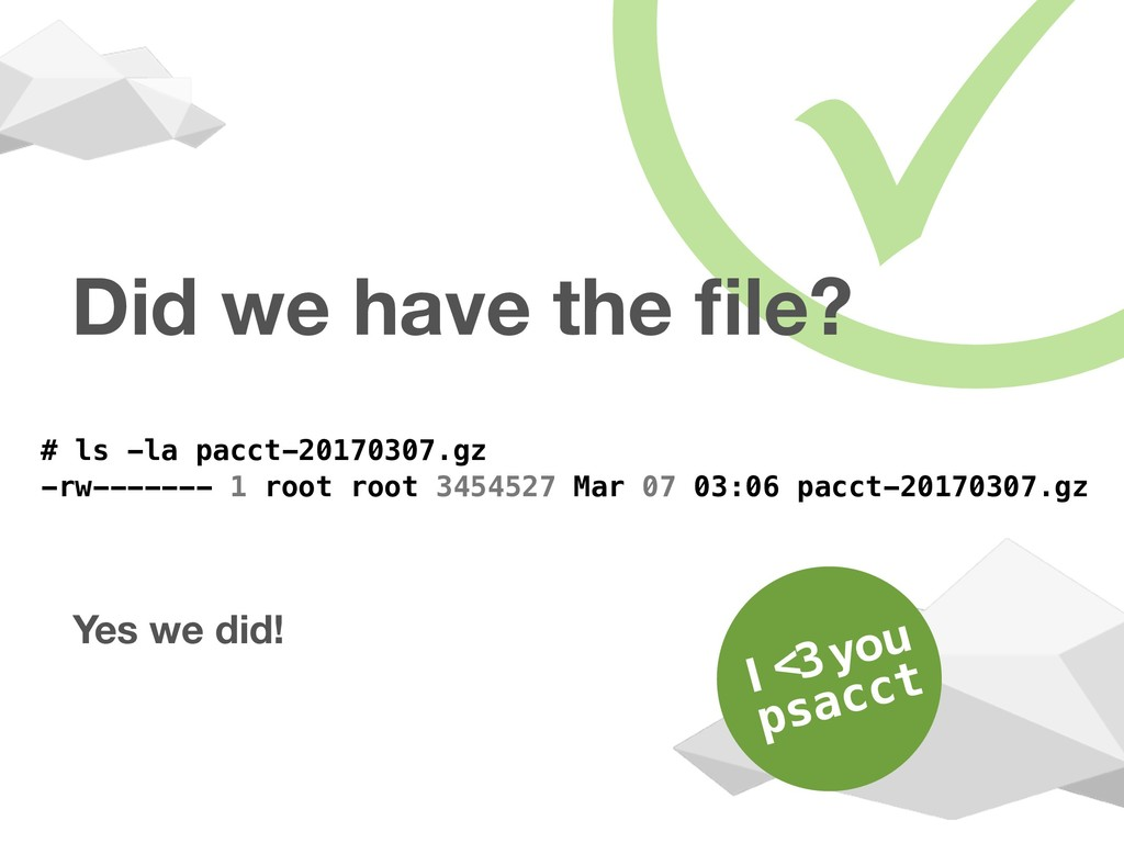 Did we have the file? Yes we did! # ls -la pacct...