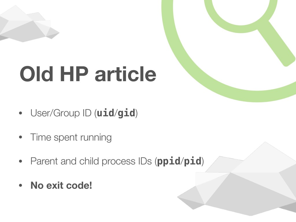 Old HP article • User/Group ID (uid/gid) • Time...