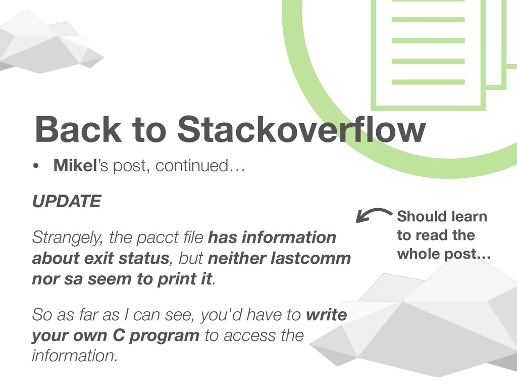 ! Back to Stackoverflow • Mikel's post, continue...