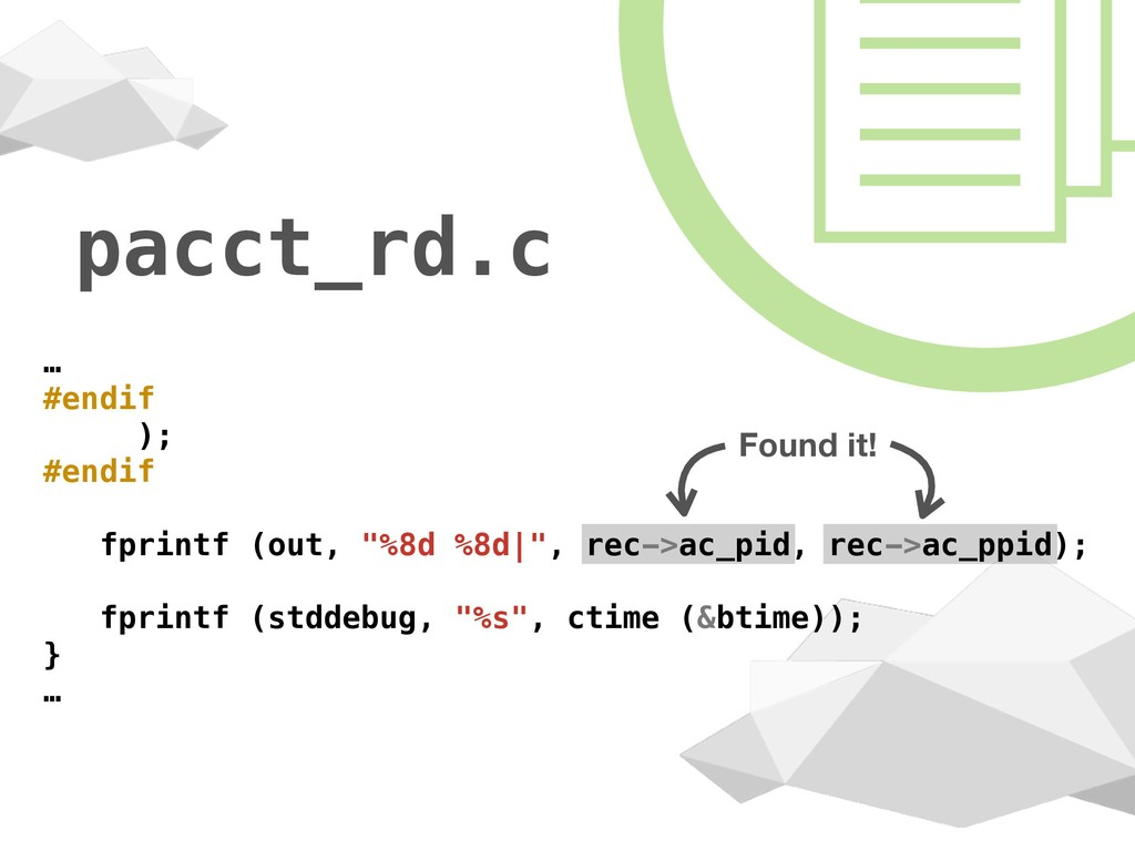 "pacct_rd.c … #endif ); #endif fprintf (out, ""%8..."