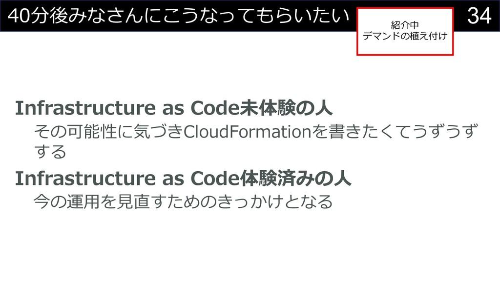 34 40分後みなさんにこうなってもらいたい Infrastructure as Code未体...