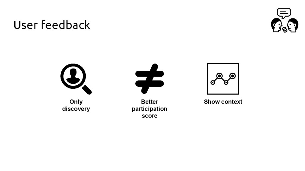User feedback Only discovery Better participati...