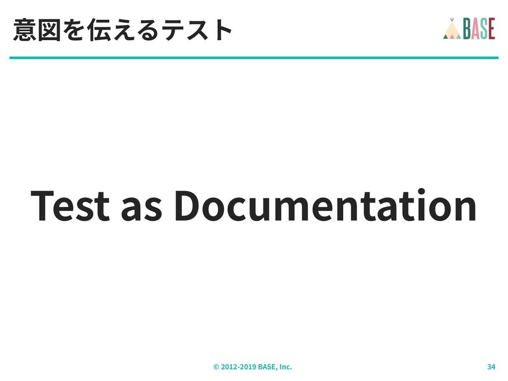 © - BASE, Inc. Test as Documentation 意図を伝えるテスト