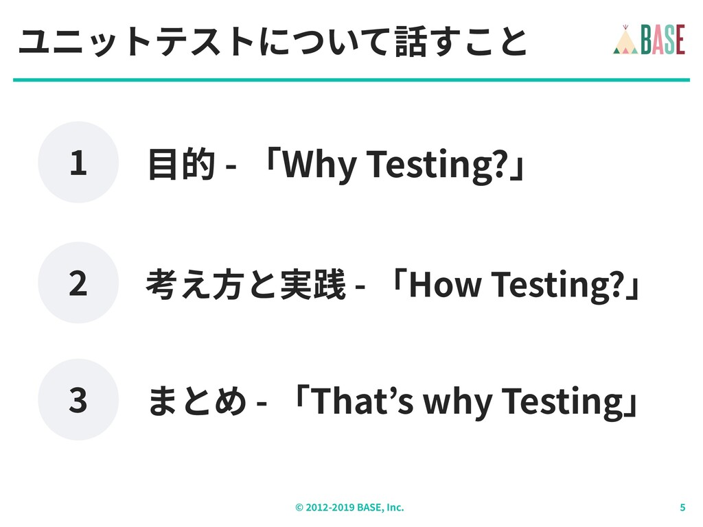 © - BASE, Inc. ユニットテストについて話すこと 考え⽅と実践 - 「How Te...