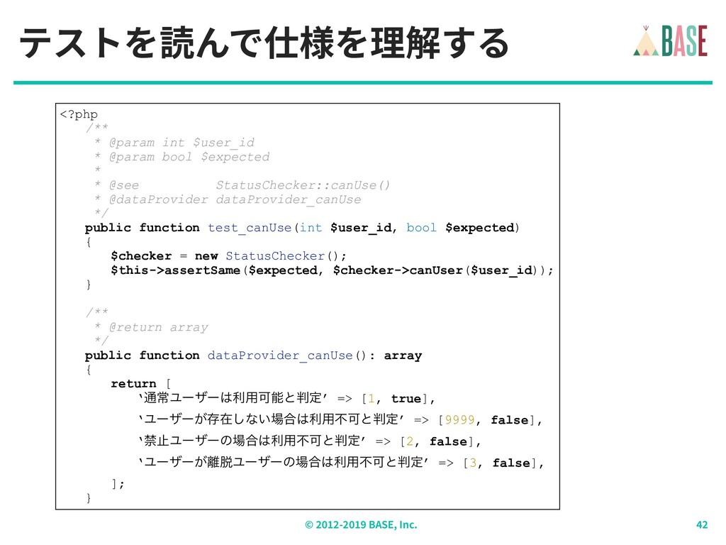 © - BASE, Inc. テストを読んで仕様を理解する <?php /** * @para...