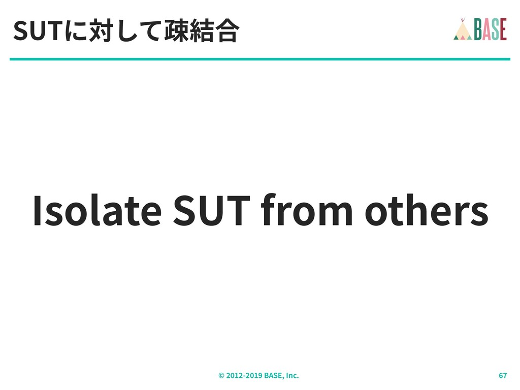 © - BASE, Inc. Isolate SUT from others SUTに対して疎...