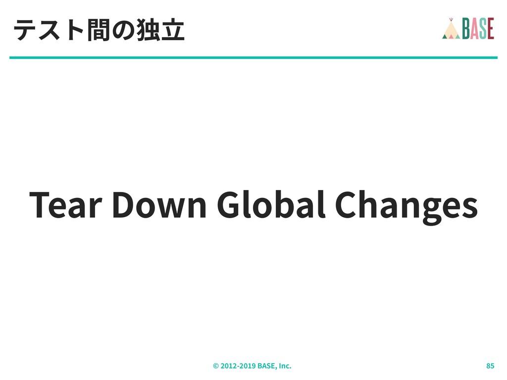 © - BASE, Inc. Tear Down Global Changes テスト間の独⽴