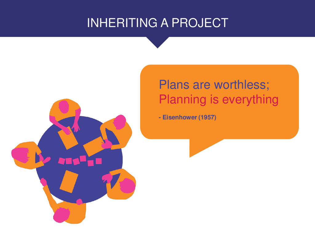 INHERITING A PROJECT Plans are worthless; Plann...