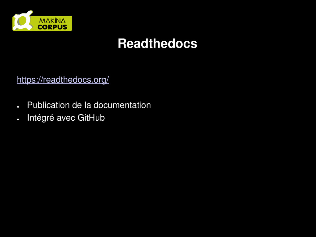 Readthedocs https://readthedocs.org/ ● Publicat...