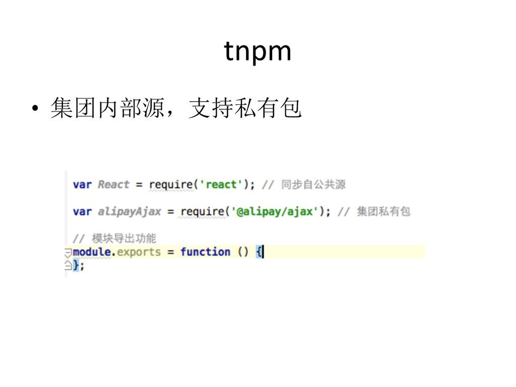 tnpm • 集团内部源,支持私有包