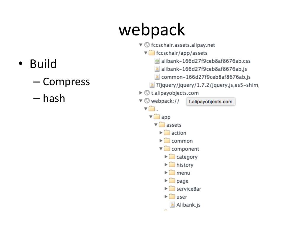 webpack • Build  –Compress  –hash