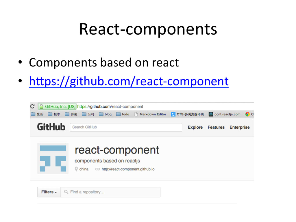 React-­‐components •  Components	