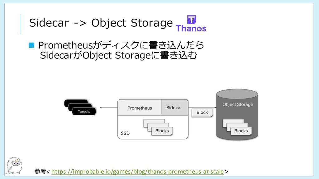 Sidecar -> Object Storage 参考< https://improbabl...