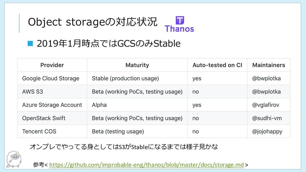 Object storageの対応状況 参考< https://github.com/impr...