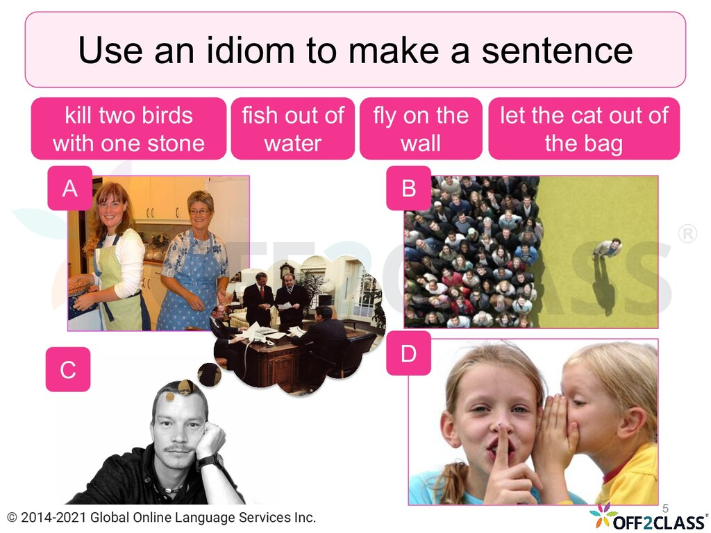 A Use an idiom to make a sentence fish out of w...