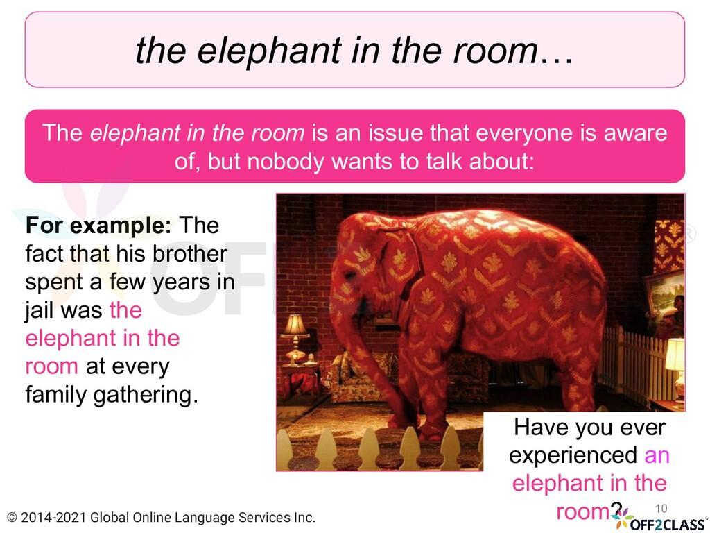 the elephant in the room… The elephant in the r...