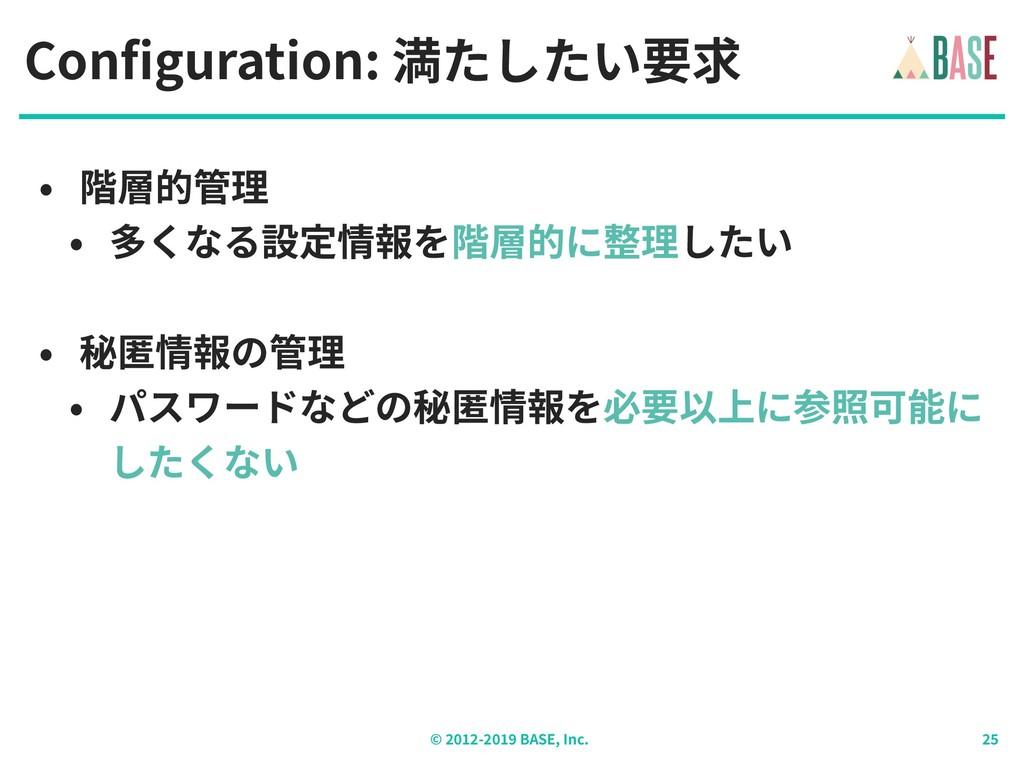 © - BASE, Inc. Configuration: 満たしたい要求 • 階層的管理 •...