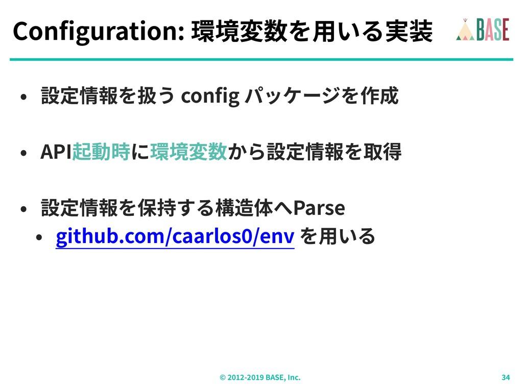 © - BASE, Inc. Configuration: 環境変数を⽤いる実装 • 設定情報...