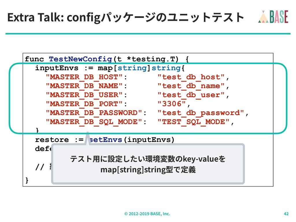 © - BASE, Inc. Extra Talk: configパッケージのユニットテスト ...