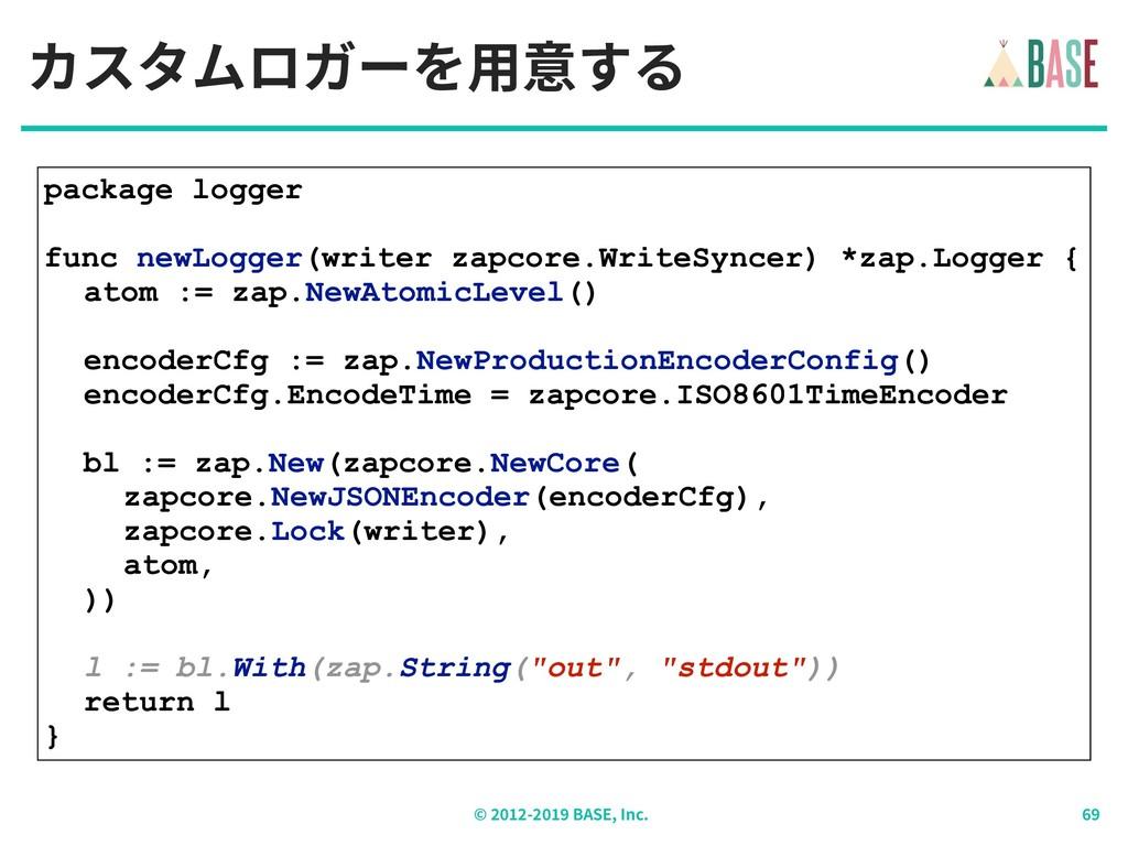© - BASE, Inc. カスタムロガーを⽤意する package logger func...