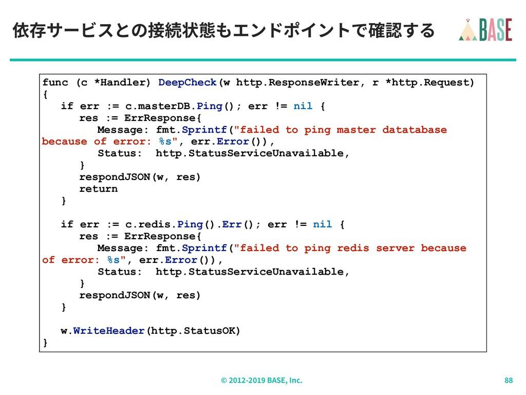 © - BASE, Inc. 依存サービスとの接続状態もエンドポイントで確認する func (...