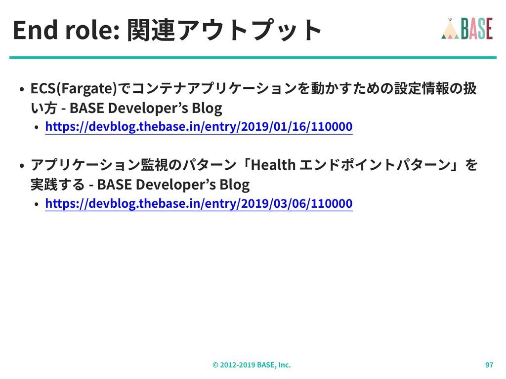 © - BASE, Inc. End role: 関連アウトプット • ECS(Fargate...