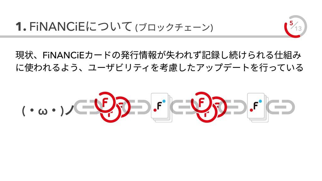 13 5 1. FiNANCiEについて (ブロックチェーン) (・ω・)ノ 現状、FiNAN...