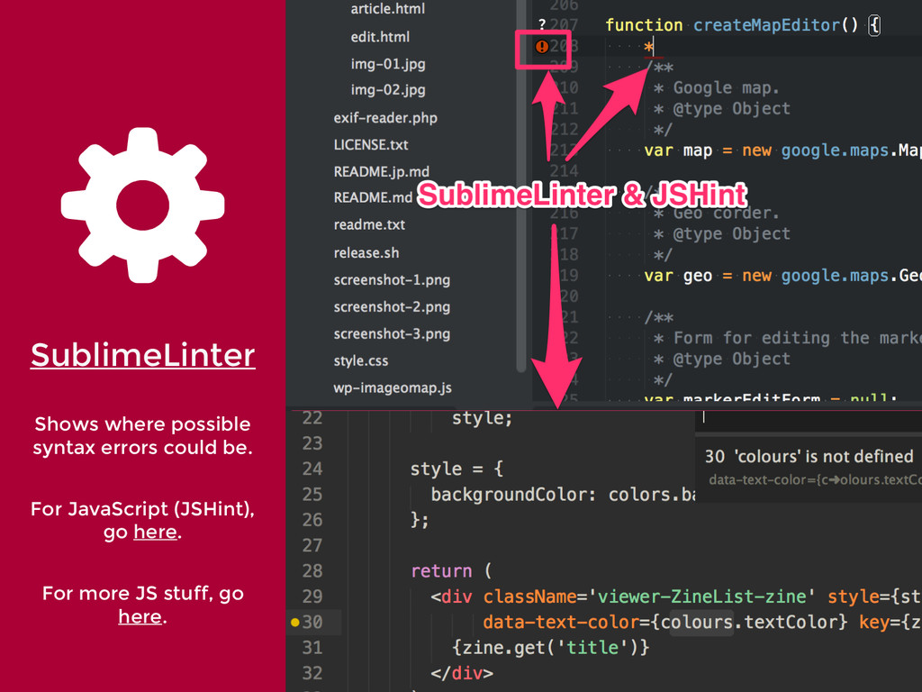 '' SublimeLinter Shows where possible syntax er...